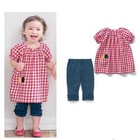 News Fashion 2014 Girl Vintage Grid Short Sleeve + Pant 2PCS Baby Clothing Sets Free&DropShipping