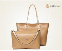 Luxury Solid Color Handbag: Pu Leather Big Famous Bags Bag-In-Bag Anime Handbag For Ladies Yellow/Khaki/Black/Rose Red