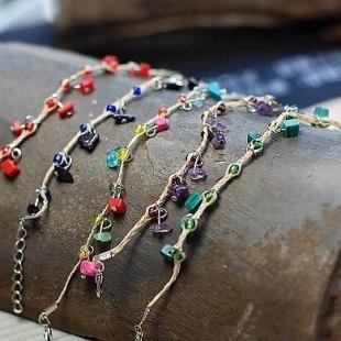 5 Pieces/set Bohemian Handmade Stone Raffia Grass Fine Bracelets Irregular Candy Colored Stones Tibetan Silver Ethnic Jewelry(China (Mainland))