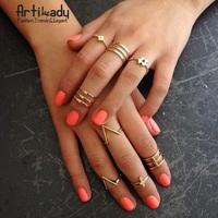 Artilady 18K gold spike midi ring set fashion stacking ring cross women jewelry