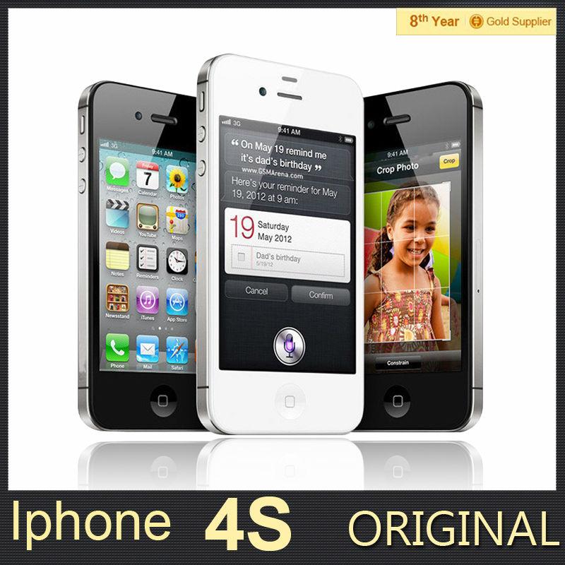 100% первоначально открынный iPhone 4S мобильный телефон 16 ГБ 32 ГБ 64 ГБ ROM двухъядерный WCDMA 3 г WIFI GPS 8MP камеры используется apple , телефон