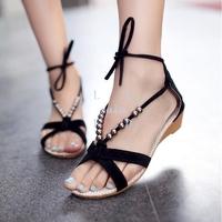4Pairs/Lot Woman Girls Bohemian Flat Heel Beaded Lacing Small Wedges Casual Sandals 4 Colors 16173