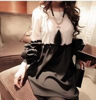 9037 sweet princess sleeve color block decoration long-sleeve dress