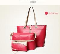 Luxury Three-Piece Set Handbag: Pu Leather Big Brand Bags Bag-In-Bag Handbag For Woman Yellow/Khaki/Black/Watermelon/Rose Red