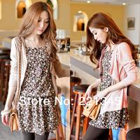 2014 spring juniors clothing fresh basic twinset  short  long-sleeve slim one-piece dress