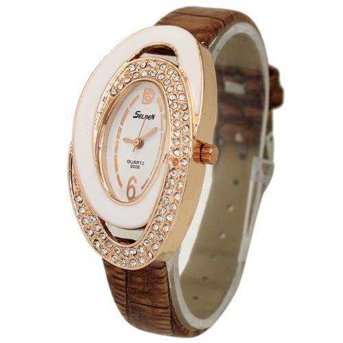 New Fashion Deluxe Brown Women s Ladies Girls Crystal Diamonate Jewelry Christmas Birthday Gift Analog Quartz