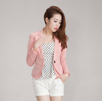 2013 women's one button slim puff sleeve short design female blazer outerwear 9930