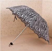 Zebra print folding ruffle umbrella apollo wave structurein princess umbrella   mother+children