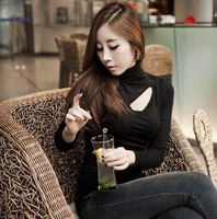 Sexy thin basic shirt modal turtleneck long-sleeve T-shirt spring autumn high-elastic slim top black hollow out woman blouse