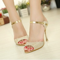 2014 best price princess high-heeled shoes open toe sandals summer dress shoes for women high quality wholesale free shipping