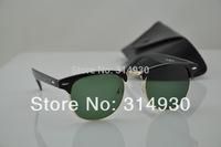 New 2014 Hot Sell Inspire Men Women Vintage Half Rim Metal Sunglasses Clubmaster 3016 Designer Glasses Black Free Shipping