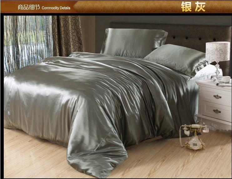 com buy silver grey silk satin bedding comforter sets king