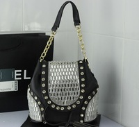 punk rock queen unique women's diamante PU leather handbag shoulder bag backpack chains rivet tassels crystal quality wholesale