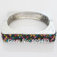 Fashion Alloy Rhinestone Studded Gold And Silver Square Bangles Bracelets For Woman