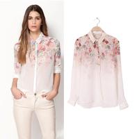 New Hot Sexy See-Through Blouse Girls Women T-Shirt Lapel Chiffon Floral Tops Free& dropshipping