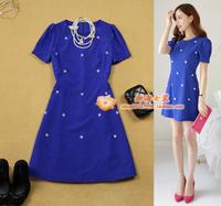 Women's 2014 bubble short-sleeve slim waist plus size navy blue bead a one-piece dress