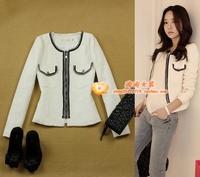 women's small ol fashion prespinning tweed slim white chain zipper short jacket