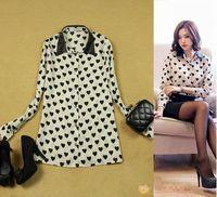 Women's plus size all-match medium-long heart fur collar basic long-sleeve shirt