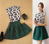 Women's elegant onta thin top shirt pleated short skirt set