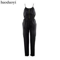 Spring and summer fashion spaghetti strap glossy slim waist jumpsuit 2 6 full haoduoyi