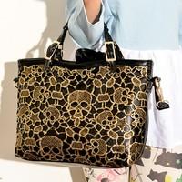 2013 autumn and winter handbag one shoulder female women's handbag messenger bag lace bag skull