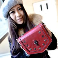 2014 fashion punk cross chain messenger bag casual handbag women's vintage mini cross-body small bags