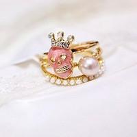 Cheapest Rings Set for Women 3 Single Rings Skull Ring Crown Pearl Ring RD-J017