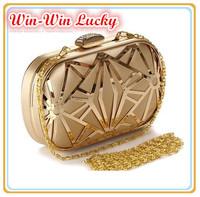 New Hot Women's Evening Bag Fashion Diamond Clutch Metal Hollow Out Wedding Party Bridal Handbag Chain Shoulder Messenger Bag