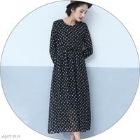 Amy . w . h vintage polka dot elastic waist o-neck long-sleeve gentlewomen all-match chiffon full dress