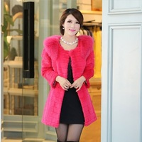 Fur coat medium-long 2013 large fur collar faux fur overcoat women's plus size