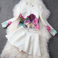 2014 spring high quality ladies peones print top short skirt twinset