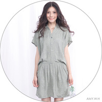 Amy w h women's print cotton cloth stand collar shirt type batwing sleeve loose one-piece dress