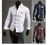 Free shipping!  fashion Lattice decoration pocket  men slim long sleeve shirts, casual  men's long sleeve shirts