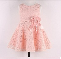 Hot sale 2014 New Summer children clothing,baby girls korean princess dress,kids lace/bow flower party costumes,suit 2-7Y child