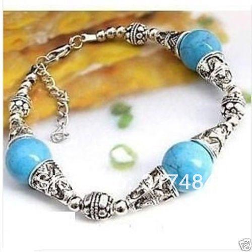 Hot Fashion woman's Jewelry wholesale Tibetan tibet silver natural turquoise green jade bracelet bangle handcraft free shipping(China (Mainland))