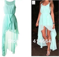 New Spring 2014 Ladies Long summer Chiffon Sexy Dress Warm Fashion Maxi Mint Green Summer Dress Casual Brand Dresses