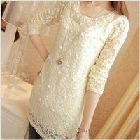 2013 autumn women's medium-long slim o-neck pearl basic shirt plus size lace shirt