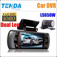 "2014 new Separate Dual Lens Car DVR Recorder Video LS650W  with HD 1080P + G-Sensor +AVI + 2.7"" LCD + AV-IN !Free Shipping"