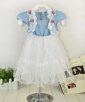 2014 summer girls short-sleeved denim lace dress children dress children tutu dresses children, free shipping