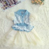 2014 summer new children's clothing girls dress stitching Korean fashion wild child princess dress, free shipping