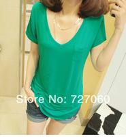 2014 spring brief V-neck solid color basic shirt summer loose plus size 100% cotton pocket short-sleeve T-shirt