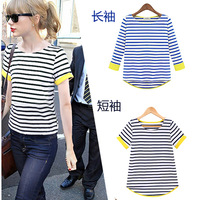 2014 spring and summer stripe basic shirt female long-sleeve knitted t-shirt patchwork preppy style navy style shirt