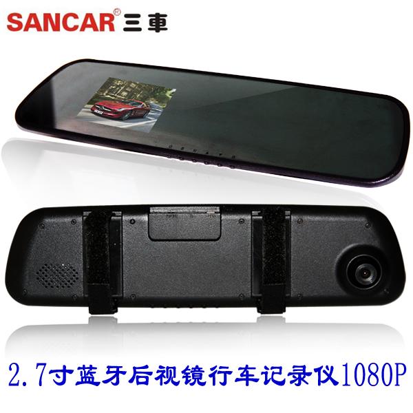 Hd 1080p bluetooth rearview mirror driving recorder tachograph car black box 2.7 screen(China (Mainland))