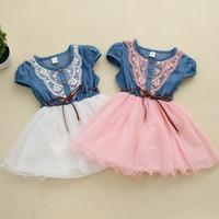 2014 summer children's clothing girls princess dress  boats cowboy cowboy net yarn stitching lace sleeve dress, free shipping