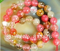 6mm-10mm Faceted Colorful Volcano Cherry Quartz Gemstone Round Loose Beads 15''