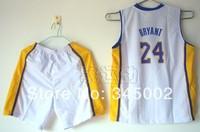 #24 Kobe Bryant Los Angeles Kids/youth white Basketball Jerseys with shorts,2014 baby/boys/children basketballer uniform Kits