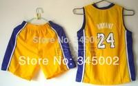 #24 Kobe Bryant Los Angeles Kids/youth yellow Basketball Jerseys with shorts,2014 baby/boys/children basketballer uniform Kits