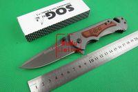 SOG - FA05 Folding Knife Wood+Steel Handle 3CR13 Blade 57HRC Camping Survival Knife Best Gift