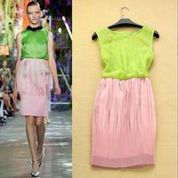 Fashion 2014 spring and summer sweet elegant color block pleated decoration slim tank dress elegant one-piece dress