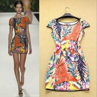 Free shipping! Summer women's 2014 holidaying fashion print rhinestone small fresh pasted elegant one-piece dress
